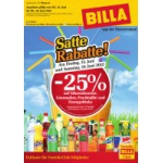 Neue Sortimentsaktionen für das Wochenende (z.B.: -25% auf Limonaden/Fruchtsäfte/Energydrinks oder Mineralwasser bei Billa)