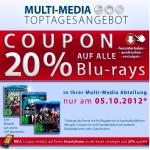 nur morgen: -20% auf alle Blu-rays bei Müller