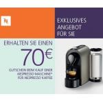 70 Euro statt 50 Euro Nespresso-Gutschein bei Neukauf