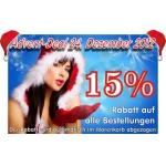 15 Prozent Weihnachtsrabatt auf alle Bestellungen