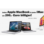 Media Markt: Apple MacBook und iMac Modelle um 200 Euro billiger
