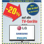 Metro: -20% auf alle TV-Geräte am Freitag – 8. März 2013