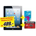 Media Markt: alle iPads mit Retina Display mit 50 Euro Gutschein + 50 Euro iTunes Guthaben