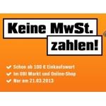 Obi: keine MwSt. am Donnerstag – 21. März 2013!