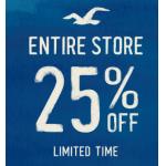 Hollister: -25% auf den gesamte Onlineshop (inkl. Stores) + gratis Versand ab 75 Euro