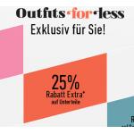 20% Rabatt auf Oberteile, 25% Rabatt auf Unterteile und 15% Rabatt auf Schuhe & Accessoires bei dress-for-less