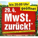 Baumax: MwSt. zurück am Montag, 29.4. 2013