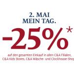 C&A: -25% auf den gesamten Einkauf in allen Filialen am 2.5.2013 (exkl. Onlineshop)
