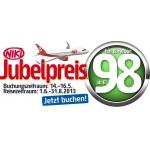 Jubelpreise bei FlyNiki/Airberlin von 14. bis 16. Mai zB: Mailand 88 €, Kopenhagen 98 € (alles hin und retour)