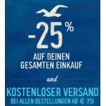 Hollister: -25% auf den gesamten Einkauf + kostenloser Versand ab 75 Euro