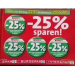 -25 % Aufkleber bei der Spar-Gruppe vom 27. – 29.5.