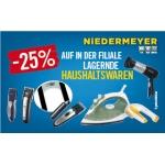 – 25 % auf die komplette lagernde Haushaltsware bei Niedermeyer