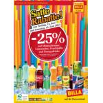 Neue Sortimentsaktionen (z.B.: -25% auf Mineralwasser, Limonade, Fruchtsäfte und Energydrinks bei Billa))