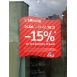 DM: -15% auf alles (nur in Favoritenstraße 130, 1100 Wien), kombinierbar mit -10% Rabattcoupon aus dm active beauty Vorteilswelt Gutscheinheft => -23,50% (vom 20.6-22.06)