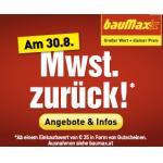 MwSt zurück bei Baumax am 30.8. (in Form von Gutscheinen)