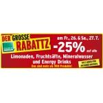 -25% auf Limo, Fruchtsäfte, Mineral und Energy Drinks (zB.: Coca Cola 1,5 L 0,97 €, …) für FoM am 26. und 27.7.