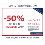 -50 % auf bereits reduzierte Ware bei C&A (nur in den Filialen)