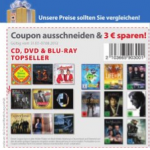 Müller: 3 Euro Rabatt auf CD, DVD & Blu-ray Topseller