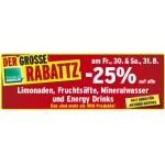 -25% auf Limo, Fruchtsäfte, Mineral und Energy Drinks (zB.: Coca Cola 1,5 L 0,97 €, …) für FoM am 30. und 31.8.