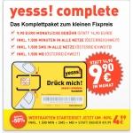 Yesss! complete NEU 1500 Min/ 1500 SMS / 1500 MB um 9,90 Euro & -50 % auf Starter-sets