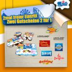 1+1 gratis Eintritte auf viele Attraktionen (zB Legoland, Madame Tussauds, …) mit Zott Monte
