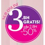 Hunkemöller Online: 3.BH gratis oder 2. BH -50%