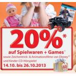 Müller: 20% Rabatt auf Spielwaren, Games & Disneyfilme ab 16. Oktober 2013