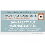 Müller: 20 % Rabatt auf Haushaltswaren bis 31.12.2013