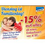 Zielpunkt: Familientag:  -15 % auf alles (ab 50 Euro Einkaufssumme)