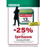 Merkur: -25% auf alle Spiritousen am 13.11.2013