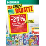 Neue Sortimentsaktionen (z.B.: -25% auf alle Wasch-, Putz-, und Reinigungsmittel bei Merkur)