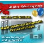 Haas 15.11.2013: Mwst. auf alle lagernden TV und Hifi Geräte sparen
