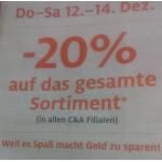 C&A: -20% auf alles von 12.-14.12.2013 (nur in den Filialen)