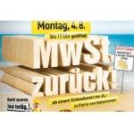 MwSt zurück bei Baumax am 4. August 2014 (in Form von Gutscheinen)
