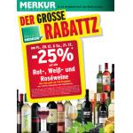 Neue Sortimentsaktionen (z.B. -25% auf alle Rot-, Weiß- und Roseweine bei Merkur)
