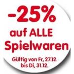 Interspar: -25 % auf Spielwaren von 27.-31.12. (online und offline)