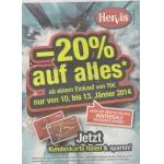 Hervis [online+offline]: -20 % auf ALLES von 10.-13.1.2014 f. Hervis Club-Mitglieder