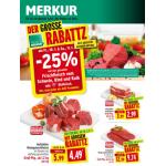 Neue Sortimentsaktionen (z.B. -25% auf das gesamte Frischfleisch vom Schwein, Rind und Kalb bei Merkur)