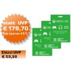 Xbox Live Guthaben 3x 12 Monate um 99 € als Saturn Tagesdeal