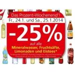 Spar / Eurospar / Interspar: -25 % auf alle alkoholfreien Getränke am 24. u. 25.1.2014