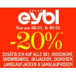 Eybl.at: -20% extra Rabatt auf z.B.: alle Ski, Skischuhe & Skijacken u.v.m. am 25. & 26. Jänner 2014