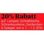 Interio: -20% auf ausgewählte Bereiche bis 1. Februar 2014