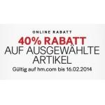 H&M: -40 % auf ausgewählte Artikel bis 16.2.2014