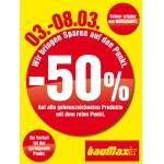 Baumax: -50 % auf gekennzeichnete Waren bis 8.3.2014