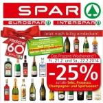 Spar / Eurospar / Interspar: -25% auf Schaumwein und Spirituosen am 21. u. 22.2.2014