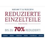 C&A: reduzierte Einzelteile mit bis zu -70 % Rabatt am 17. u. 18.3.2014