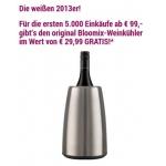 Gratis Bloomix-Weinkuehler ab 99 Euro Bestellwert bei Wein & Co