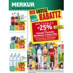 Neue Sortimentsaktionen (z.B.: -25% auf alle Limonaden, Fruchtsäfte, Mineralwasser und Energy Drinks bei Merkur)