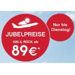 Jubelpreise bei Airberlin (z.B.: Berlin, Mailand, Zürich, Kopenhagen ab 89 Euro) & Städtetrips ab 156€