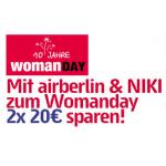 Womanday 2014 mit Airberlin & NIKI – 2x 20€ sparen auf Flüge bis 31. Oktober 2014 – nur heute buchbar!